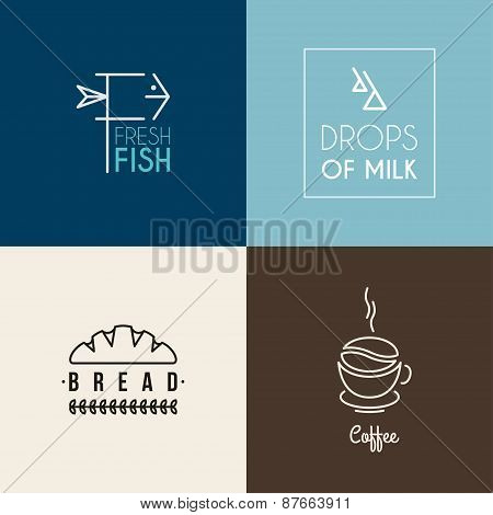 Set Of Thin Line Design Logotype Templates. Fresh Fish, Drops Of Milk, Bread, Coffee