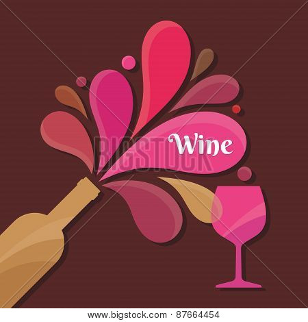 Wine Bottle and Glass - Vector Illustration for creative design projects.