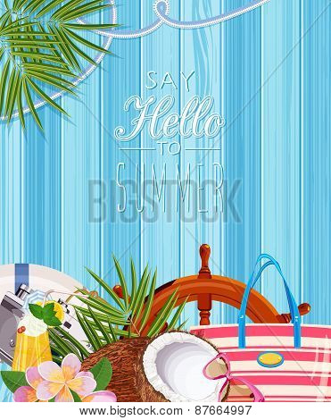 Summer poster with blue wooden background and beach items