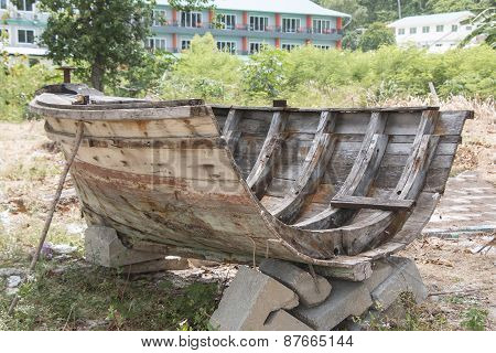 A part of Old a long boat made from Wood