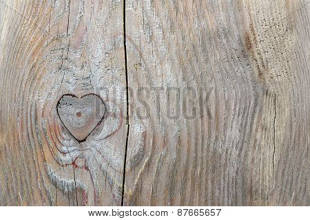 Knothole In Heart Shape In Old Wood, Love Background