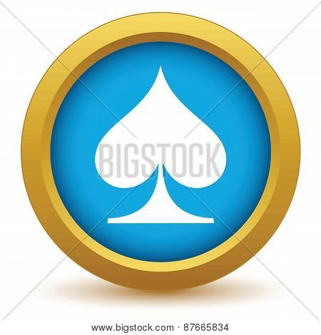 Gold spades card icon
