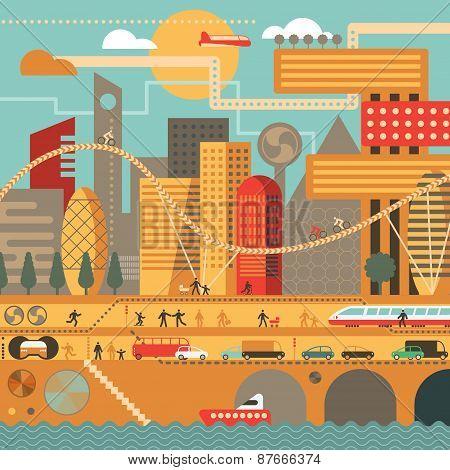 Future City In Warm Colors