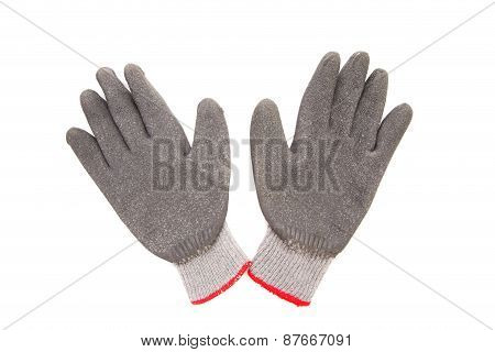 Gray rubber protective gloves.