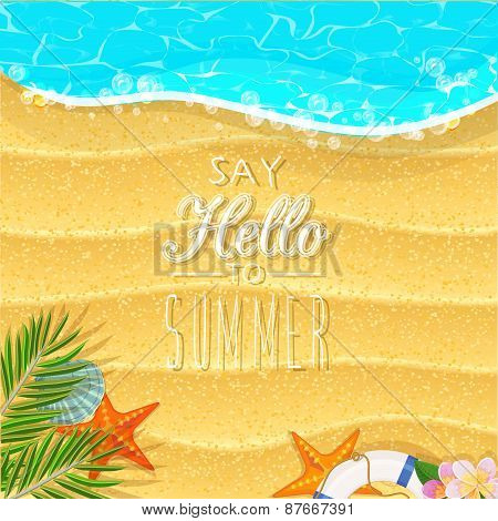Summer holidays illustration with beach and ocean