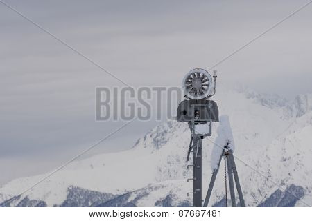 Snow cannon in the mountains, ski resort