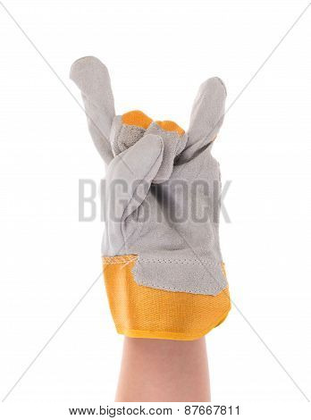 Hand shows rock sign in glove.