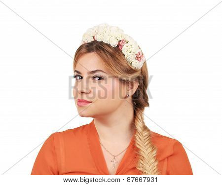 Pretty girl with thick long braid.