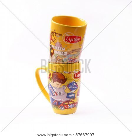 Kiev, Ukraine - April 10, 2015: Lipton Tea cups. Exclusive series, specifically for Ukraine