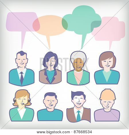 People Icons with Colorful Speech Balloons