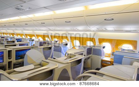 BANGKOK, THAILAND - MARCH 31, 2015: Emirates Airbus A380 business class interior. Emirates is one of two flag carriers of the United Arab Emirates along with Etihad Airways and is based in Dubai.