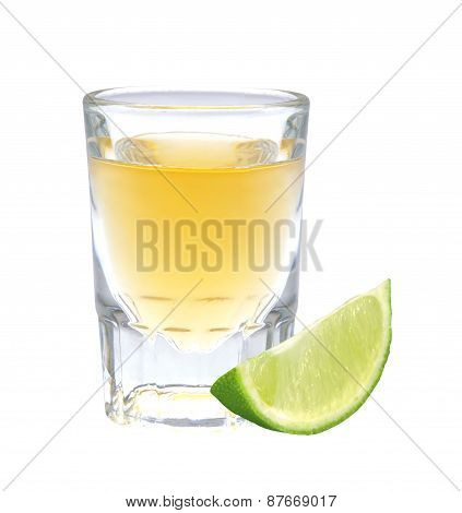 Glass Of Vodka With Pepper And Lime Slice Isolated On White