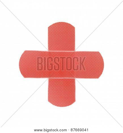 Red Medical Patch Isolated On White