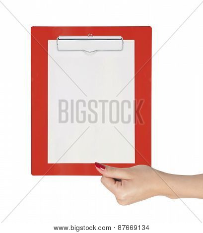 Clipboard With Blank Paper In Woman Hand Isolated On White