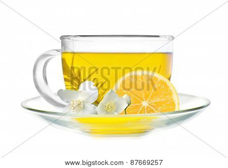 Cup Of Green Tea With Lemon Slice And Jasmine Flowers Isolated On White