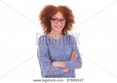 Happy Young Hispanic Teenage Girl Isolated On White Background