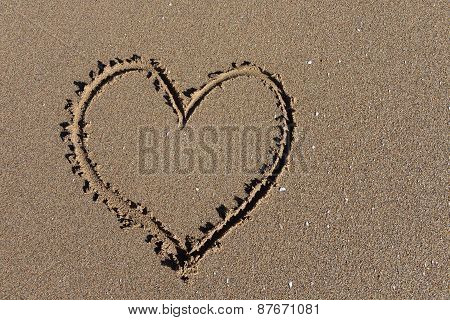 Heart on beach in Morocco near to Sidi Ifni