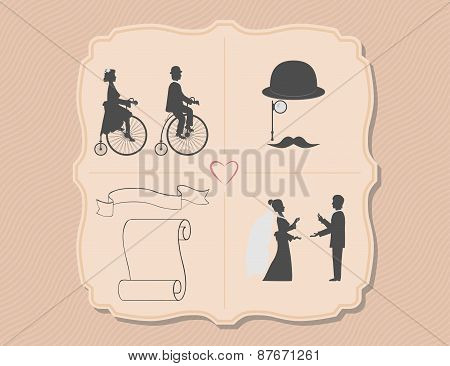 Various wedding invitations with bicycles