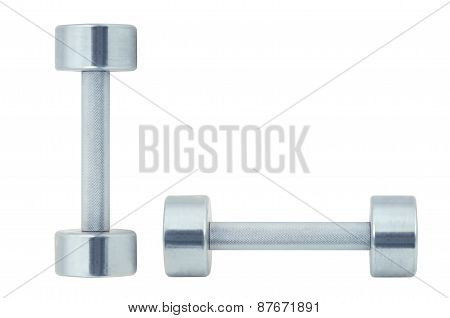 Chromed Fitness Dumbbells Isolated On White