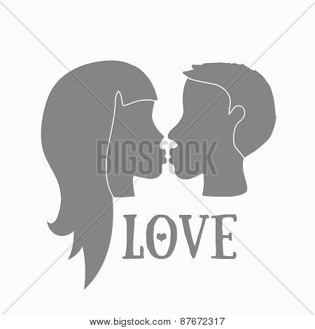 Silhouette of couple in love kissing. Boy and girl in love.