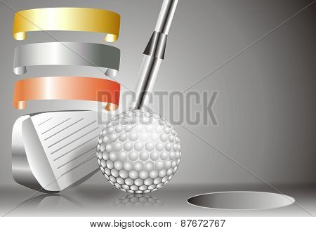 Golf Ball With Golf Club With With Winners Chart