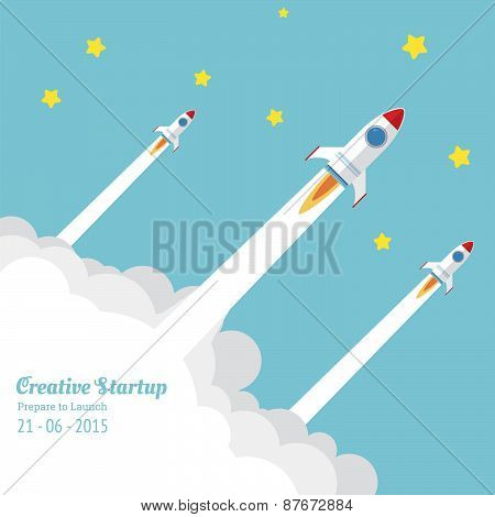 Three Rocket Flying