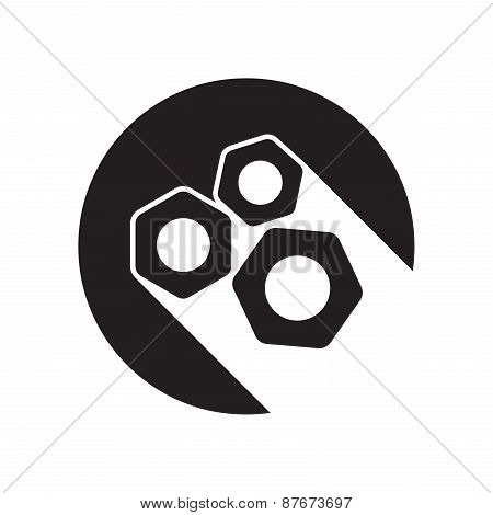 Black Icon With Nuts And Stylized Shadow