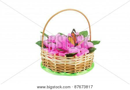 Beautiful Wattled Basket With Artificial Flowers