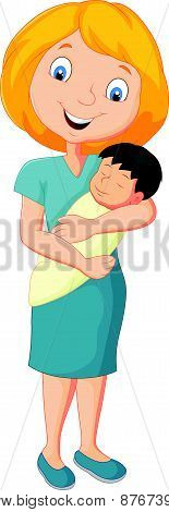 Cartoon Young mother tenderly embracing their baby