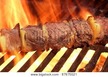 Marinated Bbq Meat Or Beef Kebab Kabob On Hot Grill