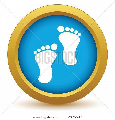 Gold foot steps icon