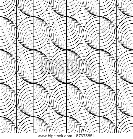 Design Seamless Uncolored Circle Lines Pattern