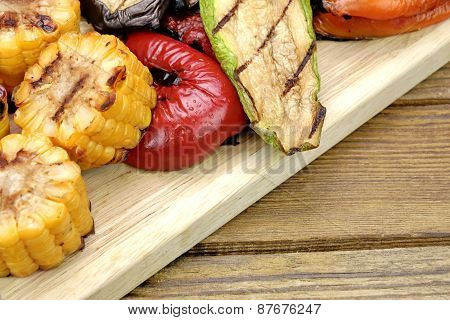 Grilled Vegetables Assortment On The Wood Table Background