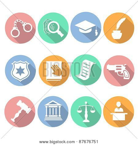 Law and judgment legal justice icon flat set   illustration