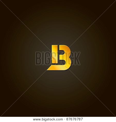 Letter B.  gold font. Template for company logo. Design element