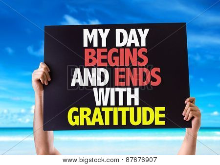 My Day Begins and Ends with Gratitude card with beach background