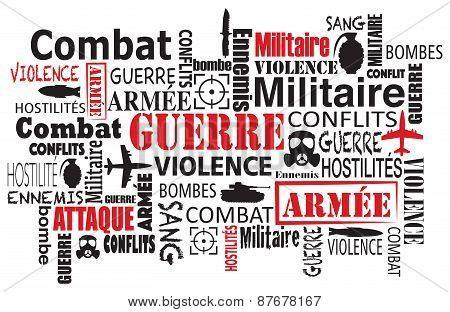 war violence word cloud vector illustration in french