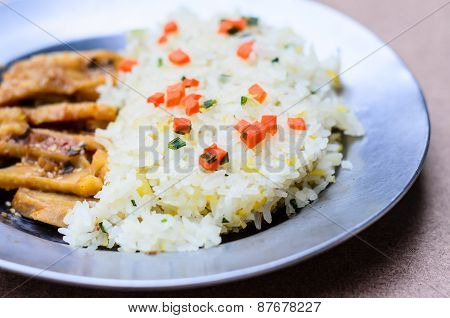 Japanese Food Fried Rice Serves With Chicken In Teriyaki Sauce