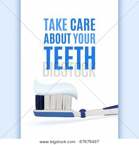 Dental background with realistic toothbrush.