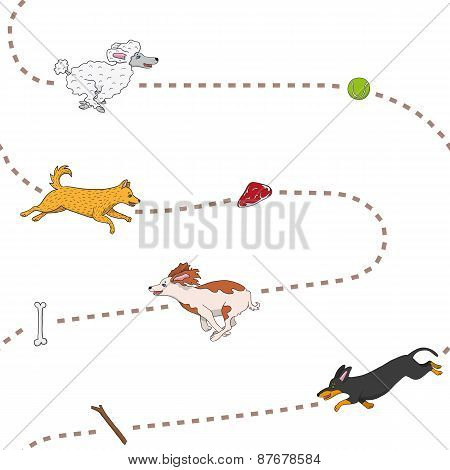 Funny dogs chasing items seamless pattern