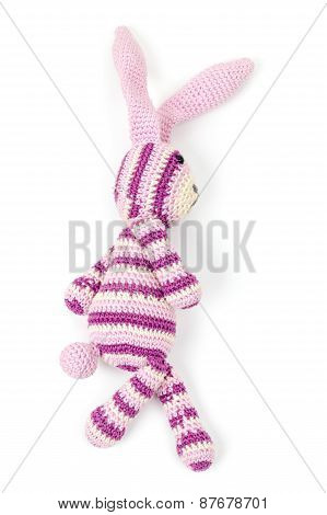 Rabbit Toy Goes, Closeup Photo Isolated On White