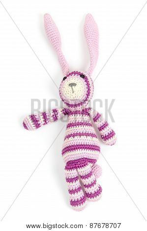 Funny Knitted Rabbit Toy Showing Left Direction