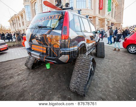 All-terrain Cross-country Vehicle On Tracks, Back View
