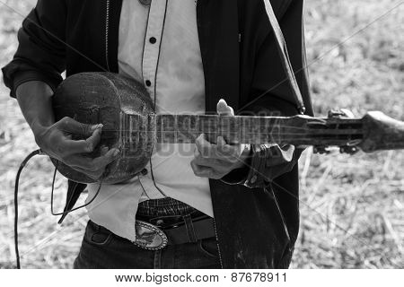 Thailand Traditional Musician Playing Folk Music, Black And White
