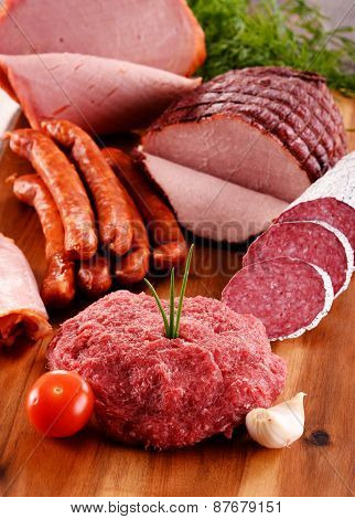 Assorted Meat Products Including Ham And Sausages