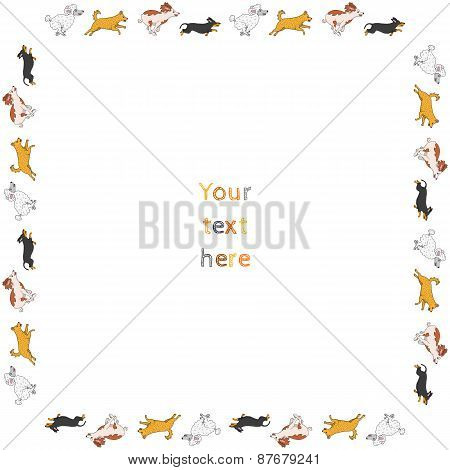 Funny running dogs square vector frame plus dog brush