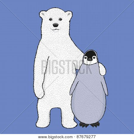 Cute illustration of hugging polar bear cub and little penguin