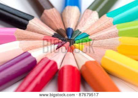Colored Pencils Stacked In A Circle