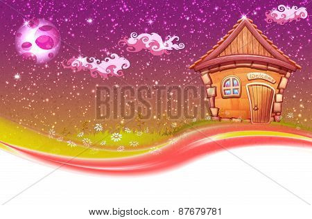 Vector banner illustration of cartoon home on meadow