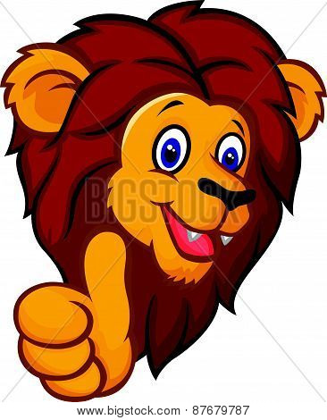 Cartoon lion mascot giving thumbs up